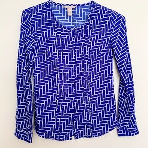 Banana Republic Geometric Button Up Blouse PXXS